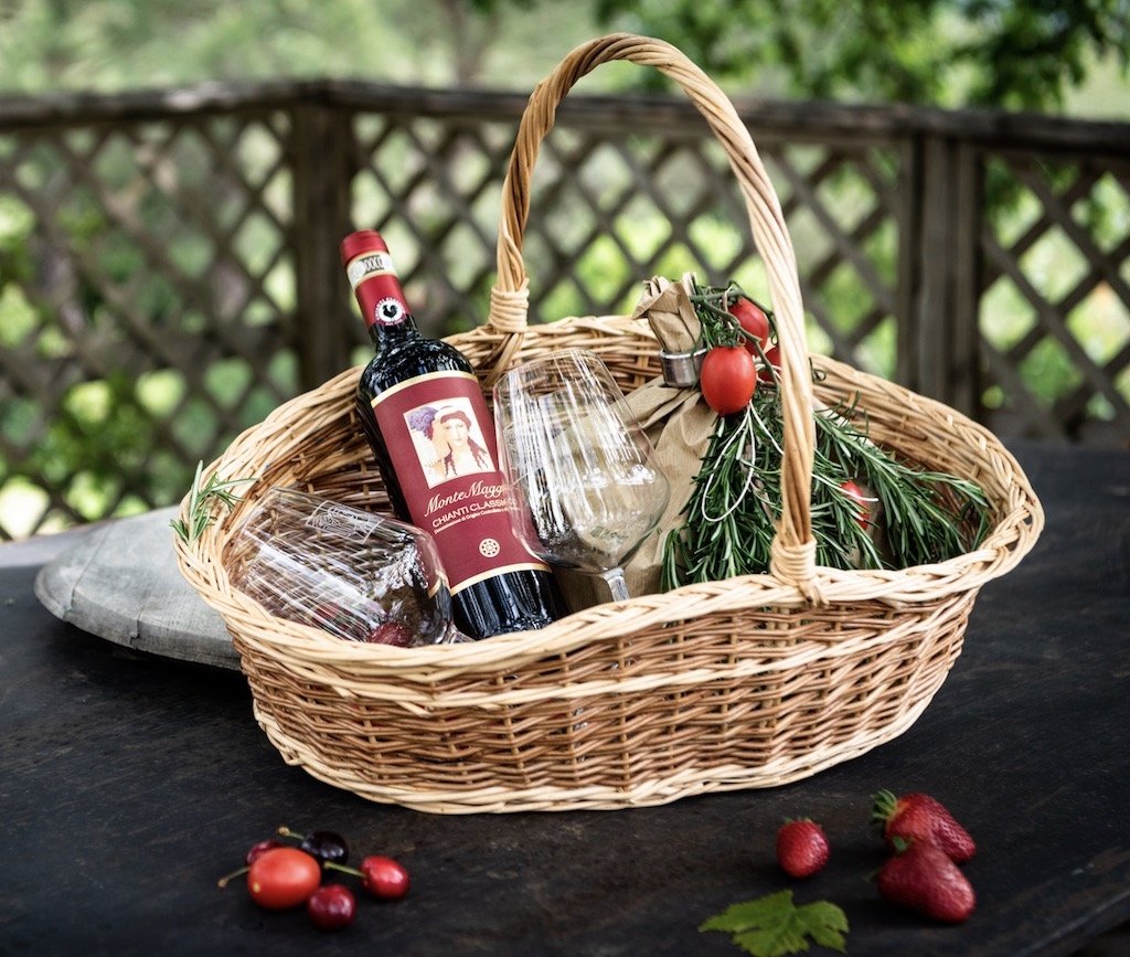 Get a light lunch with Chianti Classico red wine from Montemaggio